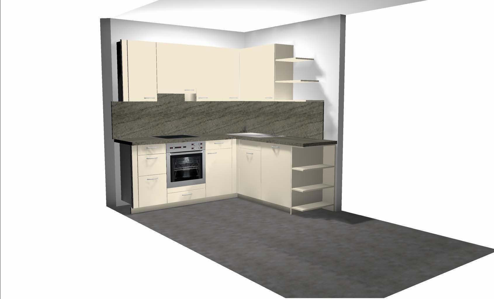 3D-Plan Küche vom Tischler.